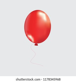 Inflatable red color air ball. Realistic ball, on a transparent background.