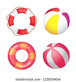 Inflatable ring and beach ball set vector banner. Double color rubber lifebuoy with rope and shore toy, swimming equipment, seashore resort theme