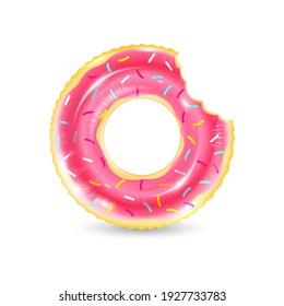 Inflatable ring looking like donut isolated on white background. Realistic colorful rubber swimming buoy. Vector illustration of top view at pool floater in glazed doughnut shape, beach toy