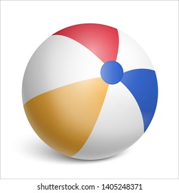 Inflatable rubber beach ball. Toy for children's games and sports. Realistic illustration on white background. Vector illustration