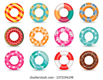 Inflatable rubber rings set with unicorn, baby shark, heart pattern. Swim ring colorful rubber toy realistic icons. Summer, water and beach theme. floats, buoy flat vector on white background