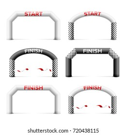 Inflatable Start Arch Set Isolated Vector. Place For Sponsors Advertising. Finish Line. Archway, Suitable For Sport Event. Marathon Racing Concept. Isolated Illustration