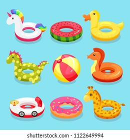 Inflatable swimming ring set. Cute water toys to keep afloat when kids are learning to swim. Vector flat style cartoon inflatable items illustration isolated on blue background