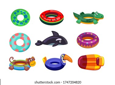 Inflatable swimming set. Cute floating toys, rubber rings, swimming mattress, whale, donut. Vector illustrations for swimming pool kids party, summer vacation, beach concept