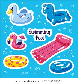 Inflatable swimming set. Cute water toys flamingo, swan, rings, floats. Beach party vector summer stickers. Trendy doodle illustration. Vector flat style cartoon inflatable items on blue background