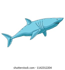 Inflatable tiger shark. White shark. Blue. Vector