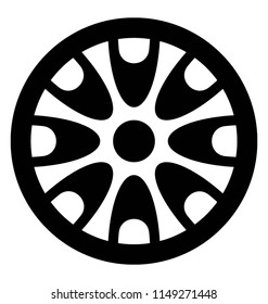 A inflatable tire with patterns inside denoting hubcap