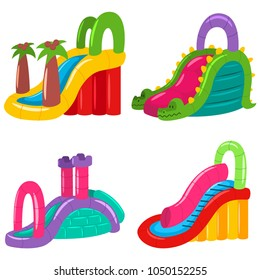 Inflatable water slides for kids of different shapes. Summer amusement park vector icons set isolated on white background.