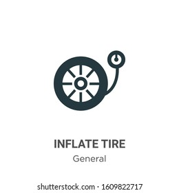Inflate tire glyph icon vector on white background. Flat vector inflate tire icon symbol sign from modern general collection for mobile concept and web apps design.