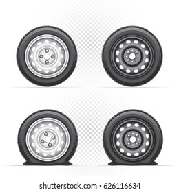 Inflated and deflated light and dark car wheel set. Collection of black and gray metal auto tyre. Transport tire with shadow isolated on transparent white background