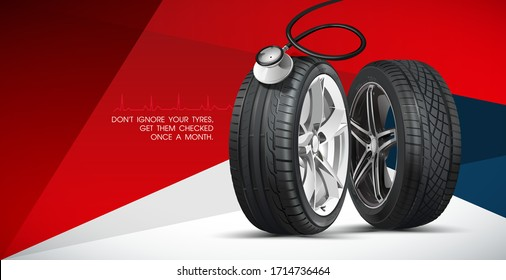 Inflating tire and checking air pressure with gauge pressure in service station. Tyre poster GET A FREE TYRE SAFETY CHECK TODAY. Discount. Black rubber tire. Realistic vector tyre.
