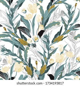 Inflorescences of cream tulip flowers in dense sage green color thickets of leaves and twigs of grass on a white background. Hand-drawn seamless vector pattern. Square repeating design for fabric