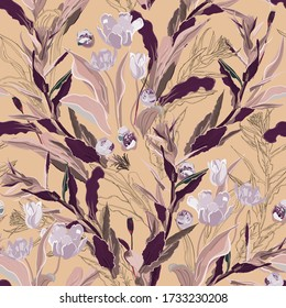Inflorescences of lilac tulip flowers in pink, purple color thickets of leaves and twigs of grass on a cream, beige background. Hand-drawn seamless vector pattern. Square repeating design for fabric