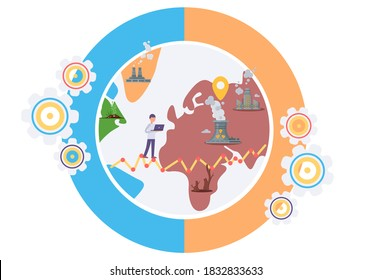 Influence of factories around the world. Environmental problems due to human activity. Air pollution, drainage of soil, shortage of plants, radiation emissions. Harmful impact of modern way of life