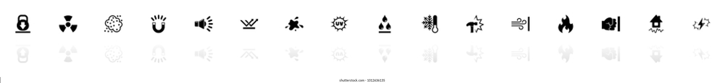 Influence icons - Black horizontal Illustration symbol on White Background with a mirror Shadow reflection. Flat Vector Icon.