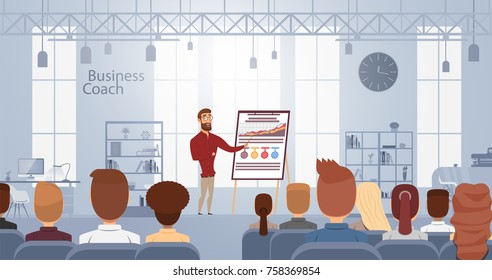 Influence lecture talking about business training at smart coach center. Vector illustration. Conference meeting concept