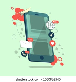 Influence of the marketing concept on a smartphone in a vector