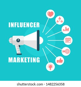 Influence marketing vector concept. Marketing strategy to social media network. Loudspeaker with icons.