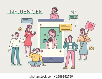 Influencer advertising marketing. Celebrities are advertising on social networks and people are gathering around. flat design style minimal vector illustration.
