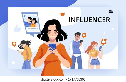 Influencer. Digital marketing campaign, social post and famous network content, influence of opinion leader. Cartoon men or women with smartphones click like button. Vector potential customers concept