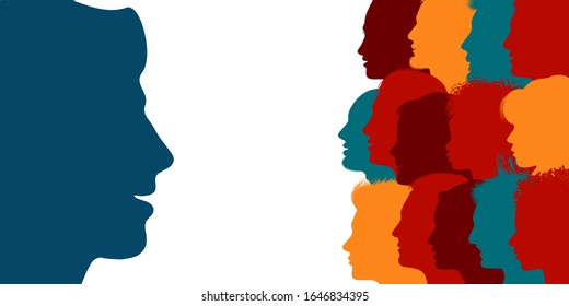Influencer. Human heads silhouette in profile influencing a crowd of people. Persuasion propaganda and influence on the masses. Recruit new members. Sharing idea and thoughts. Social media