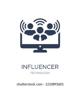 Influencer icon. Trendy flat vector Influencer icon on white background from Technology collection, vector illustration can be use for web and mobile, eps10