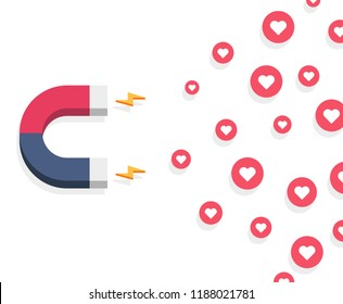 Influencer marketing concept with magnet, like and hearts Illustration.