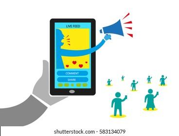 Influencer Marketing concept via Social Media and Mobile Access