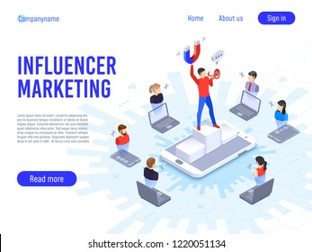 Influencer marketing. Influence on B2c clients, potential product buyers or consumer products buyer, online engagement communication business or digital customer research process strategy illustration