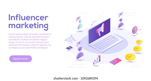Influencer marketing isometric vector illustration. Blog advertising goods via internet social media. Website or blog ad influence on potential buyers.