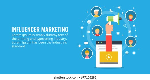 Influencer marketing vector. Hand with megaphone influencing audiences with marketing methods flat vector banner with icons
