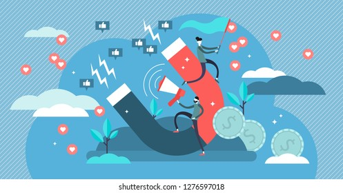 Influencer marketing vector illustration. Flat tiny persons marketing impact concept. Powerful famous leaders behavior and speech increases brand or product recognition using social media followers.
