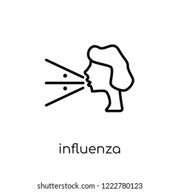 Influenza icon. Trendy modern flat linear vector Influenza icon on white background from thin line Diseases collection, editable outline stroke vector illustration