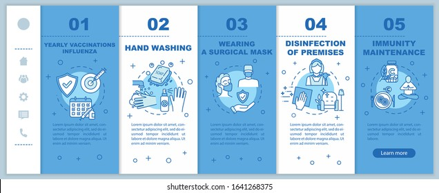 Influenza virus prevention onboarding vector template. Immunity maintenance. Yearly vaccination for flu. Responsive mobile website with icons. Webpage walkthrough step screens. RGB color concept
