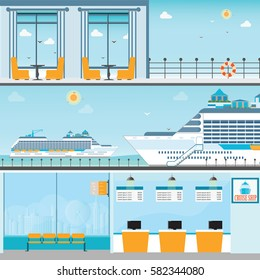 Info of Cruise ship terminal at sea port with moored transatlantic liner, ticket counter,interior of cruise ship and cruise ship deck, travel vector illustration.