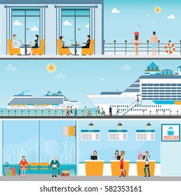 Info of Cruise ship terminal at sea port with moored transatlantic liner and cruise people, ticket counter,interior of cruise ship and cruise ship deck, travel vector illustration.