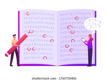 Info Encryption, Coding. Tiny Male Female Characters Stand at Huge Open Book with Text, Man Highlighting Letters with Red Pencil, Woman Enter Information in Mobile. Cartoon People Vector Illustration