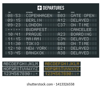 Info of flight on the billboard in the airport. Airport terminal arrival and departure timetable, information board, display alphabet.