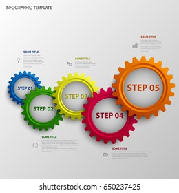 Info graphic with abstract colored design gears template