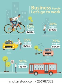 info graphic business people let's go to work character concept .by car taxi and personal car