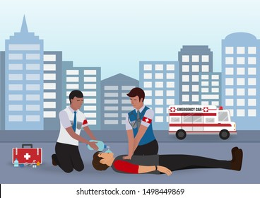 Info Graphic of Cardiopulmonary Resuscitation (CPR) Between Doctor and Assistant for Emergency First Aid Rescue Process on Human , One Part of the Important Process Resuscitation