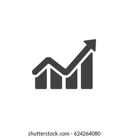 Info graphic. Chart icon. Growing graph symbol. vector illustration on white background