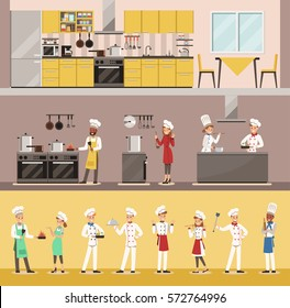 info graphic chef cooking in restaurant character design
