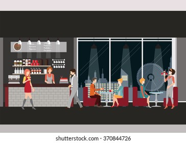 Info graphic of coffee shop . Barista with cup of coffee, man and women meeting in coffee shop, man dating with woman, waitress, working man,  vector illustration.