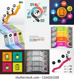 info graphic design background set
