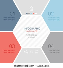 Info graphic design - minimal hexagon brochure template