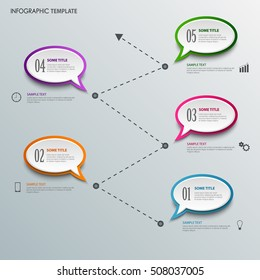 Info graphic with design speaking bubbles template