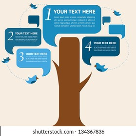 Info graphic design, vector speech bubble tree with birds