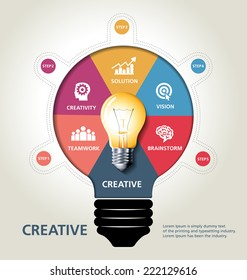 info graphic design, vector, template, creative, bulb idea