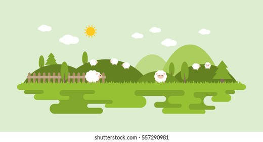 Info graphic and elements of farming landscapes with sheep, flat design vector illustration